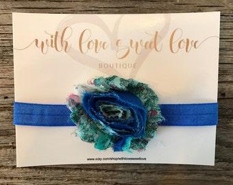 Blue Flower Elastic Baby Headband
