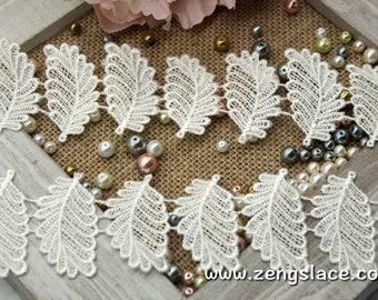 Guipure lace trim with leaves/Unique Bridal Lace/Wedding Lace/Antique Lace/Vintage Lace/Venise Lace/Couture Trim/Lace by the yard, GL-32