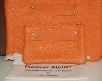 "Small pocket ""15"" calf Taurillon Orange"