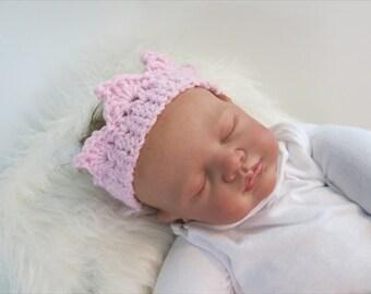 READY, Baby Girl Yarn Crown, Baby Girl Crochet Crown, Pink Baby Crown, Newborn Girl Baby Crown, Tiara Baby Crown, Baby Crown Girl, Prop