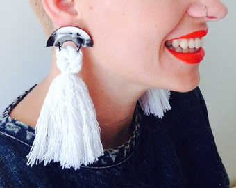 Buoy Oh Buoy - Black and White Tassel Statement Earrings - Concrete Jellyfish