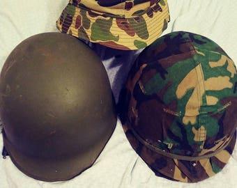 WWII M1 Helmets, Helmet Slide and Bush Rain Hat