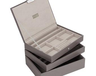 Stackers Set of 3 Mink & Grey Medium Stacker Jewellery Trays -Style 2 LCSETGREY2