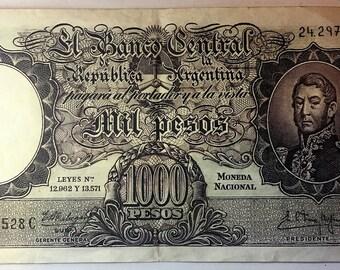 ARGENTINA 1000 1,000 PESOS ND 1935-1942