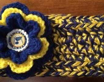 Handmade Crochet Headwarmer with Crochet Flower, St. Louis BLUES Bottlecap