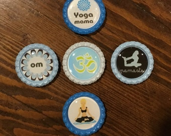 Handmade 1 inch BottleCap Magnets, YOGA, Set of 5.