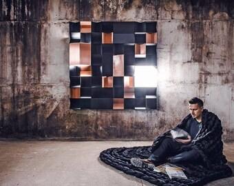 Black Chunky blanket, giant knit Blanket. FREE ship. Arm knit blanket, black large blanket,pure Merino wool.