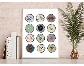 South London bottle tops art print