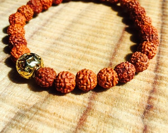 Rudraksha Bracelet Mala for Meditation, Japa and Protection. With Gold Beads to signify 27 bead Sumaran for traditional Yoga beads & mantra