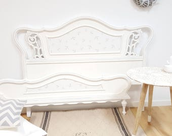 Double bed headboard and footboard wood Walnut vintage shabby white chic handmade