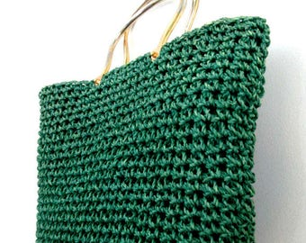 Mid Century Raffia Straw Handbag // Double Metal Ring Emerald Green Handle Bag // Ritter // Made in Italy