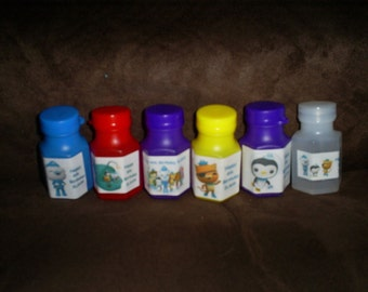 Octonauts set of 12 personalized Birthday party favor bubbles