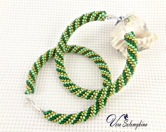Green beaded hoop earrings, Seed Bead earrings, Big hoops, Green gold crochet earrings, Native beadwork, Boho African Jewelry for her