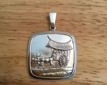 Japanese pendant, Chinese pendant, silver pendant, Sterling silver pendant, Asian pendant, unique pendant,