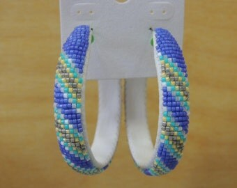 2 inch beaded hoop earrings