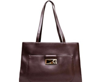 1980s Givenchy brown leather tote bag
