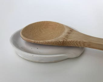 Ceramic Spoon Rest -- White