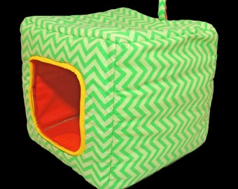 Cube Pet Bed - Dog Cat Cave Cocoon Home - Collapsible Cozy Fleece Flannel Polyester Stuffed Cuddle House