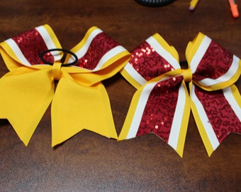Large 3 Layer Cheer Bows with sequins and ponytail attachment. FLAT Rate Shipping 5.00 or FREE Shipping over 25.00