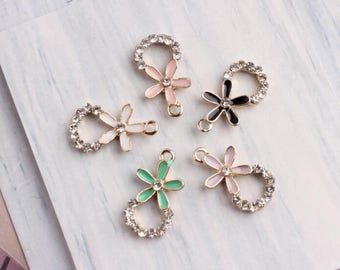10PCS, 10*20MM, Crystal Flower Charms, Enamel Crystal Charm, Crystal Charms, Crystal Ring Charm, Gold Charm, Diy Jewelry Accessories