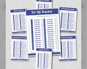 All 12 exercise trackers - 30 Day Challenge - Printable PDF - Blue GoldStar design