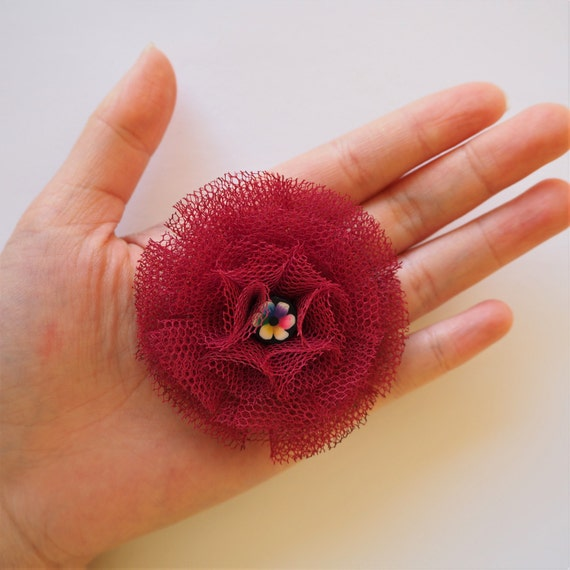 Burgundy Red Mesh Flower Brooch