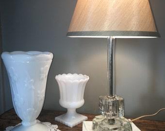 Vintage Bedside Glass Lamp/Mid Century Lamp/Bedroom Lamp/Vintage Glass  Bedside Lamp
