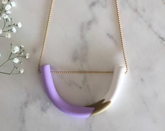 Lilac gold U shape polymer clay necklace - handmade