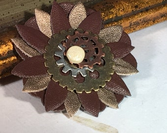 POWERED FLOWER Steampunk Pin
