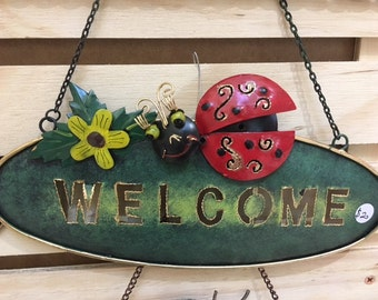 Lady bug Welcome sign