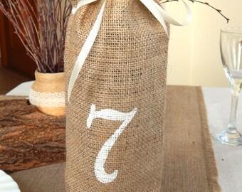 Burlap Wine Bags Table Number, Wine Bags, Wine Bottle Holder, Burlap Gift Bag, Wine Bottle Cosy, Wedding Wine Bags,  Bags, Hessian Wine Bag