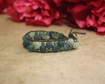 Green Wrap Natural Stone Bracelet
