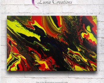 "fluid painting canvas 24""x16"" ""Marble Rock"""
