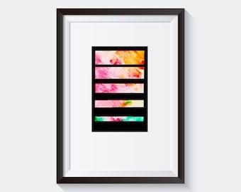 Watercolor Print. Printable art. Minimal and modern Print. Watercolor Printable Wall Art. Abstract and Colorful Print. Geometry Print.