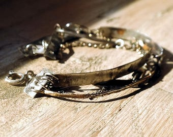 Multi-strand, Sterling Silver Bracelet, Bar Bracelet, Raw Silver, handmade sterling silver brancelet, unique