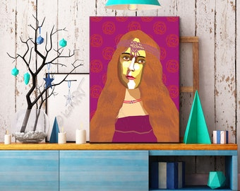 "Portrait ""George"" - Tribute To George Sand  FRAMED ART, Literature, iconArt, Personalized Gift, Name, Book Lover, Gift, For Women, For Men"