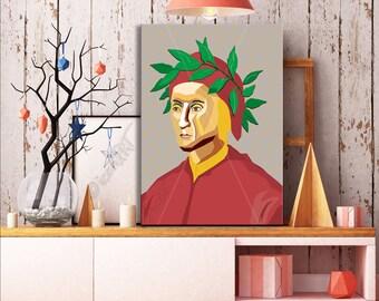 Dante Alighieri  FRAMED ART Literature  iconArt gallery Personalized Gift, Name, City, Gift For Women, For Men, For Grandma, For Grandpa,