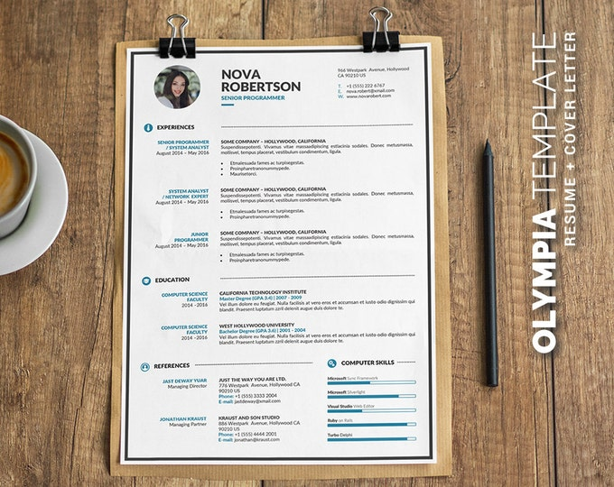 Resume Template / CV Template Bundle - 4 Creative Word Resume Design + Free Cover Letter, A4 and US Letter, for PC and Mac, Instant Download
