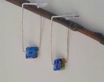 Hammered wire geometric earrings
