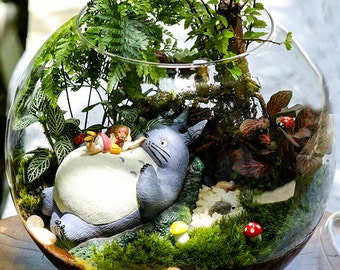 A set 5* Totoro Figurines , Girl Lay on Big Totoro , Miniature Ghibli Studio Mini Fairy Garden Supplies Succulent Terraium DIY Accessories