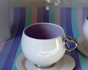 READY TO SHIP : Ceramic cup with heart shaped. Handmade porcelain cup with platinum by Ceramica Dias