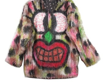 Hand Painted Monster Faux Fur Coat w/ Studded Hood