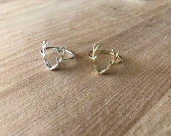 Deer Antler Ring, Sterling Silver Ring,Antler ring, Silver antler ring,Dainty Ring,Dainty Antler Ring