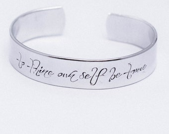 To Thine Own Self Be True / Shakespeare Jewelry / Shakespeare Bracelet / Hamlet / Literary Jewelry / Quote Jewelry / Inspirational Jewelry