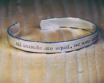 All Animals Are Equal, But Some Animals Are More Equal / Literary Gift / Literary Jewelry / Animal Farm / George Orwell / Quote Jewelry