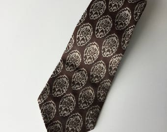 Retro Polyester Brown and Teal Mandala Mens Necktie