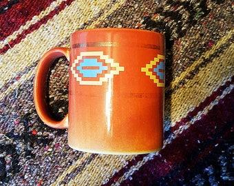 VINTAGE tribal print orange and gold coffee mug / native american print mug / vintage coffee mug