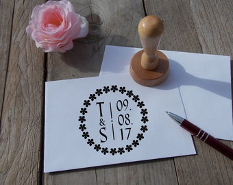 Wedding stamp with initials and date; Personalized; Wedding; Stamp; Rubber; Wood