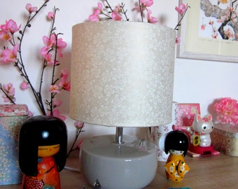 Lamp Japanese pattern cherry Floral white gold