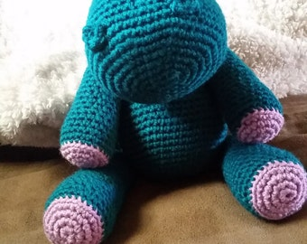 Crocheted stuffed hippo
